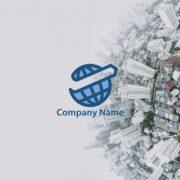 販売ロゴ番号0494 – 地球と右肩上がりの矢印のロゴマーク