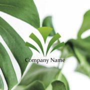大きな成長を表現した扇子型に開いた葉っぱの販売ロゴ デザイン