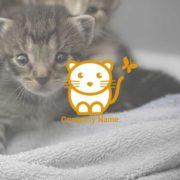 可愛い猫のキャラクターロゴマークデザインを作成しました