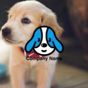 ペットの販売ロゴ:可愛い犬の顔をキャラクター風にデザインしたロゴ マーク