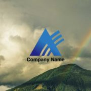 三角形と虹をイメージしたシンプルな販売ロゴ デザイン