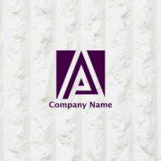 正方形の中にデザインしたAのイニシャルロゴ