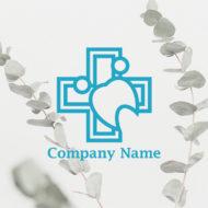 ハートと人と十字と歯のロゴ マーク