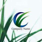 勢いよく成長する草(雑草)のロゴデザイン
