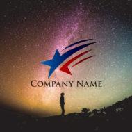 希望を叶える流れ星のロゴマークデザイン。