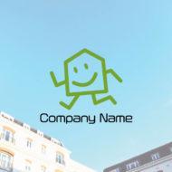 物件を探しまくって奔走する家のキャラクターロゴ デザイン。