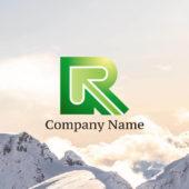 Rの文字とハートの矢印のロゴ デザイン