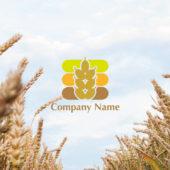 麦・米を表した穀物のロゴデザイン